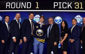 Jun 21, 2019; Vancouver, BC, Canada; Ryan Johnson poses for a photo after being selected as the number thirty-one overall pick to the Buffalo Sabres in the first round of the 2019 NHL Draft at Rogers Arena. Mandatory Credit: Anne-Marie Sorvin-USA TODAY Sports