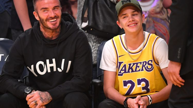 Oct 27, 2019; Los Angeles, CA, USA;  David Beckham and his son Romeo, 17 attend the game between the Los Angeles Lakers and the Charlotte Hornets at Staples Center. Mandatory Credit: Jayne Kamin-Oncea-USA TODAY Sports