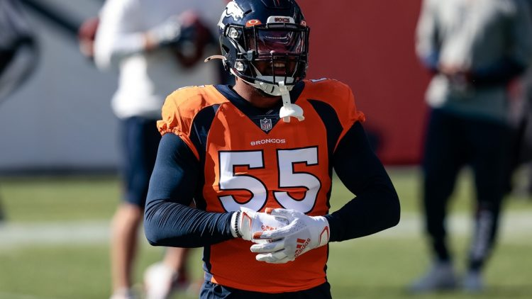 Nov 1, 2020; Denver, Colorado, USA; Denver Broncos outside linebacker Bradley Chubb (55) before the game against the Los Angeles Chargers at Empower Field at Mile High. Mandatory Credit: Isaiah J. Downing-USA TODAY Sports