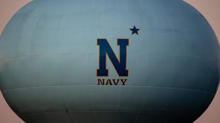 Nov 28, 2020; Annapolis, Maryland, USA; A general view of the Navy Midshipmen logo on a water tower near the stadium is seen before the game between the Navy Midshipmen and the Memphis Tigers at Navy-Marine Corps Memorial Stadium. Mandatory Credit: Scott Taetsch-USA TODAY Sports