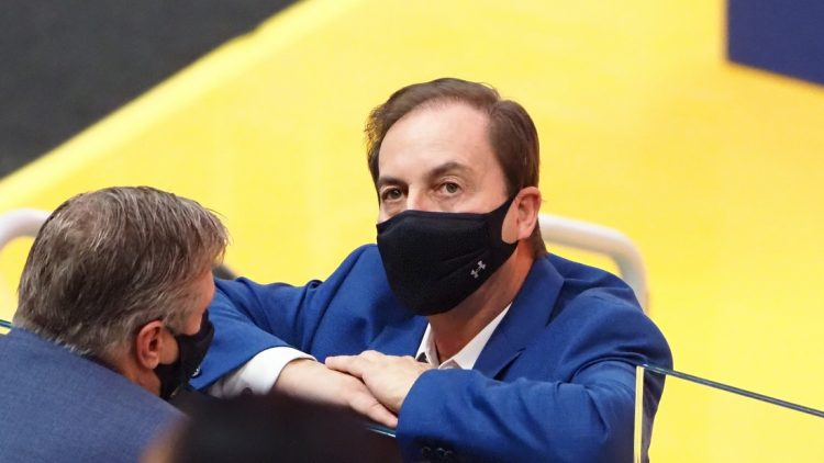 Jan 3, 2021; San Francisco, California, USA; Golden State Warriors majority owner Joe Lacob stands court side before the game against the Portland Trail Blazers at Chase Center. Mandatory Credit: Kelley L Cox-USA TODAY Sports