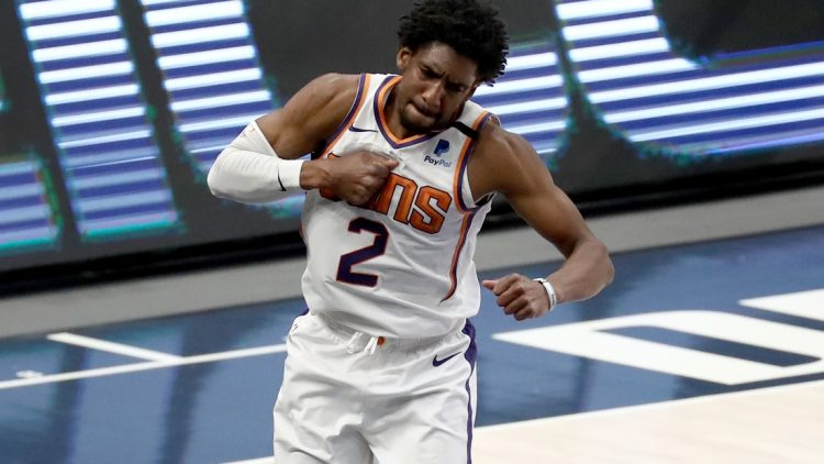 Feb 1, 2021; Dallas, Texas, USA; Phoenix Suns guard Langston Galloway (2) reacts after scoring during the second half against the Dallas Mavericks at American Airlines Center. Mandatory Credit: Kevin Jairaj-USA TODAY Sports