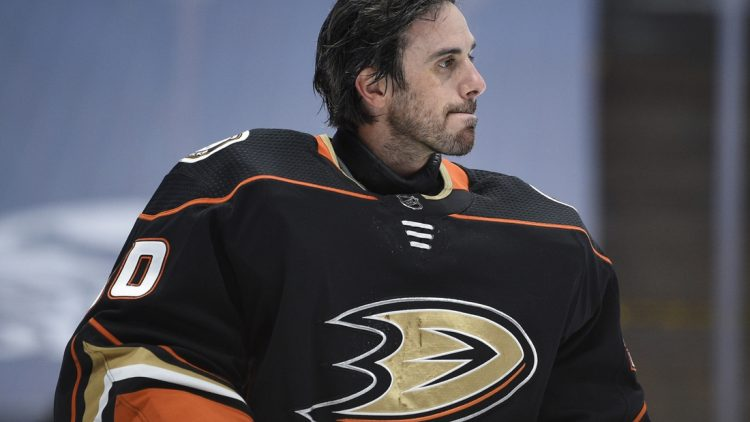 Mar 20, 2021; Anaheim, California, USA; Anaheim Ducks goalie Ryan Miller (30) looks on during a break in play in the first period against the Arizona Coyotes at Honda Center. Mandatory Credit: Kelvin Kuo-USA TODAY Sports