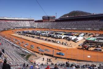 Mar 29, 2021; Bristol, TN, USA; General view during the NASCAR Gander RV and Outdoors Truck Series race at Bristol Motor Speedway. Mandatory Credit: Randy Sartin-USA TODAY Sports