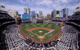 Apr 1, 2021; San Diego, California, USA; A general overview of Petco Park during the playing of the national anthem before the game between the Arizona Diamondbacks and San Diego Padres at Petco Park. Mandatory Credit: Orlando Ramirez-USA TODAY Sports