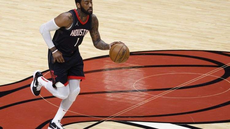 Apr 19, 2021; Miami, Florida, USA;  Houston Rockets guard John Wall (1) bring the ball up court against the Miami Heat at American Airlines Arena. Mandatory Credit: Rhona Wise-USA TODAY Sports