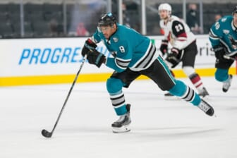 May 7, 2021; San Jose, California, USA; San Jose Sharks left wing Evander Kane (9) skates during the third period against the Arizona Coyotes at SAP Center at San Jose. Mandatory Credit: Stan Szeto-USA TODAY Sports