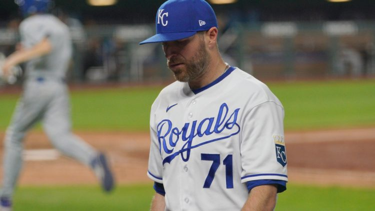 May 8, 2021; Kansas City, Missouri, USA; Kansas City Royals relief pitcher Wade Davis (71) walks to the dugout after being replaced in the ninth inning against the Chicago White Sox at Kauffman Stadium. Mandatory Credit: Denny Medley-USA TODAY Sports