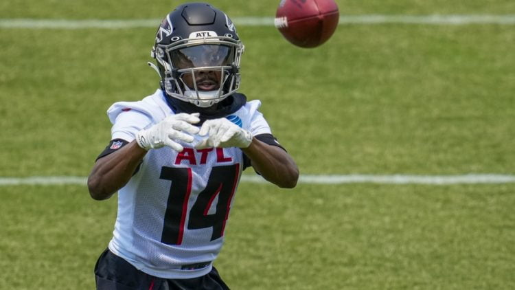 May 25, 2021; Flowery Branch, GA, USA;  Atlanta Falcons wide receiver Russell Gage  (14) catches a pass during Falcons OTA at the Falcons Training Complex. Mandatory Credit: Dale Zanine-USA TODAY Sports