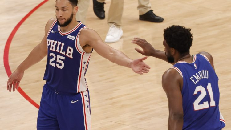 May 29, 2021; Washington, District of Columbia, USA; Philadelphia 76ers center Joel Embiid (21) celebrates with 76ers guard Ben Simmons (25) against the Washington Wizards in the third quarter during game three in the first round of the 2021 NBA Playoffs at Capital One Arena. Mandatory Credit: Geoff Burke-USA TODAY Sports