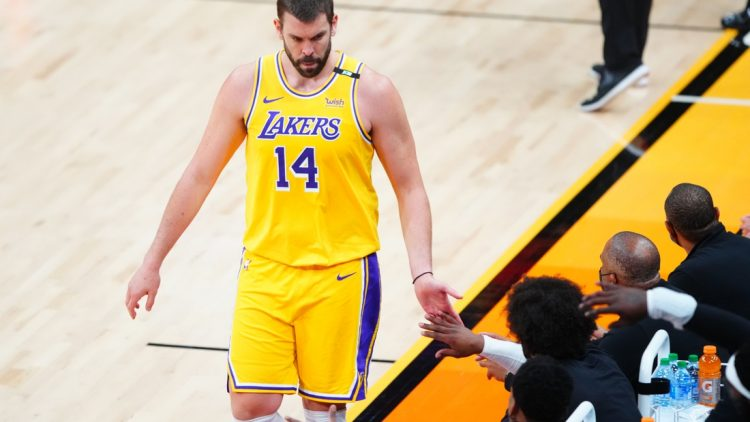 Jun 1, 2021; Phoenix, Arizona, USA; Los Angeles Lakers center Marc Gasol (14) against the Phoenix Suns during game five in the first round of the 2021 NBA Playoffs at Phoenix Suns Arena. Mandatory Credit: Mark J. Rebilas-USA TODAY Sports