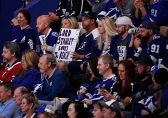 Jul 7, 2021; Tampa, Florida, USA; A fan holds a sign up during the second period in game five of the 2021 Stanley Cup Final between the Tampa Bay Lightning and the Montreal Canadiens at Amalie Arena. Mandatory Credit: Douglas DeFelice-USA TODAY Sports