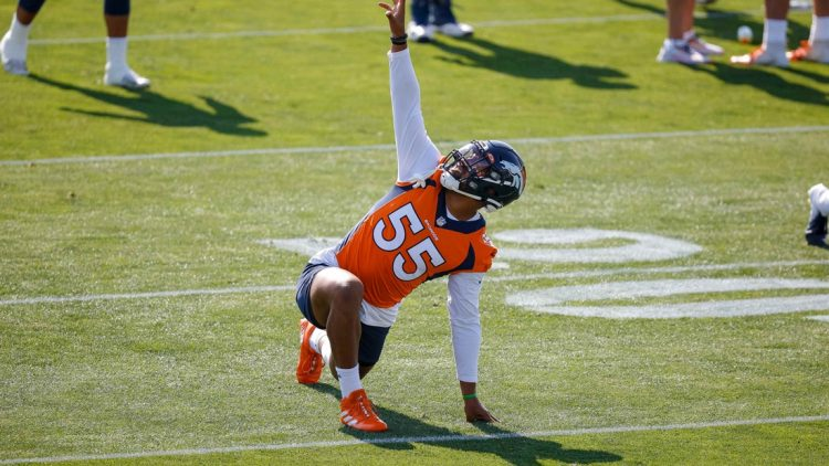 Jul 28, 2021; Englewood, CO, United States; Denver Broncos outside linebacker Bradley Chubb (55) stretches during training camp at UCHealth Training Complex. Mandatory Credit: Isaiah J. Downing-USA TODAY Sports