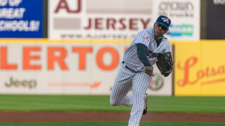 New York Yankees pitcher Luis Severino began his rehab assignment with the Somerset Patriots on Tuesday night against Bowie.  Somerset Patriots Luis Severino 8 3 21 8