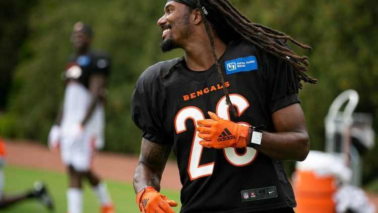 Cincinnati Bengals cornerback Trae Waynes (26) during training camp on the practice fields outside of Paul Brown Stadium in Downtown Tuesday, August 17, 2021.  Aug17bengals12