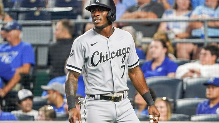 Jul 26, 2021; Kansas City, Missouri, USA; Chicago White Sox shortstop Tim Anderson (7) reacts after striking out during the game against the Kansas City Royals at Kauffman Stadium. Mandatory Credit: Denny Medley-USA TODAY Sports