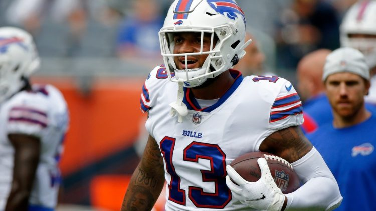 Aug 21, 2021; Chicago, Illinois, USA; Buffalo Bills wide receiver Gabriel Davis (13) runs with the ball during warmups before the game against the Chicago Bears at Soldier Field. The Buffalo Bills won 41-15. Mandatory Credit: Jon Durr-USA TODAY Sports
