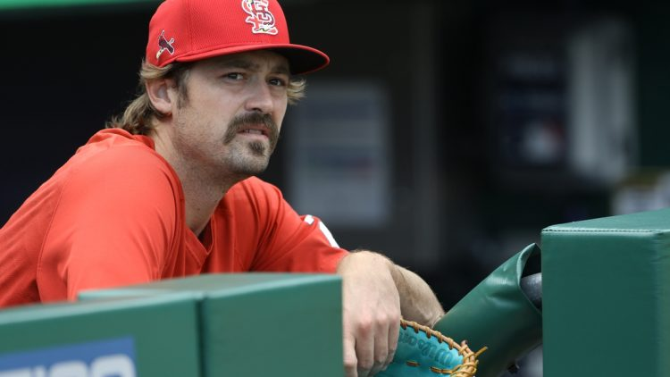 Aug 26, 2021; Pittsburgh, Pennsylvania, USA;  St. Louis Cardinals relief pitcher Andrew Miller (21) watches the Pittsburgh Pirates take batting practice before playing at PNC Park. Mandatory Credit: Charles LeClaire-USA TODAY Sports