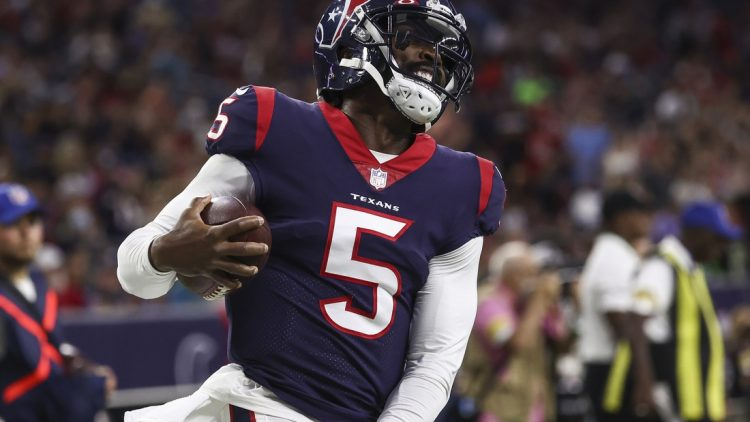 Aug 28, 2021; Houston, Texas, USA; Houston Texans quarterback Tyrod Taylor (5) reacts after a play against the Tampa Bay Buccaneers during the first quarter at NRG Stadium. Mandatory Credit: Troy Taormina-USA TODAY Sports