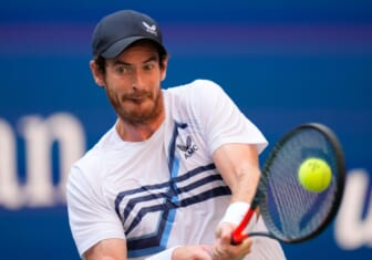 Aug 30, 2021; Flushing, NY, USA; Andy Murray of Great Britain hits to Stefanos Tsitsipas of Greece (not pictured) on day one of the 2021 U.S. Open tennis tournament at USTA Billie King National Tennis Center. Mandatory Credit: Robert Deutsch-USA TODAY Sports