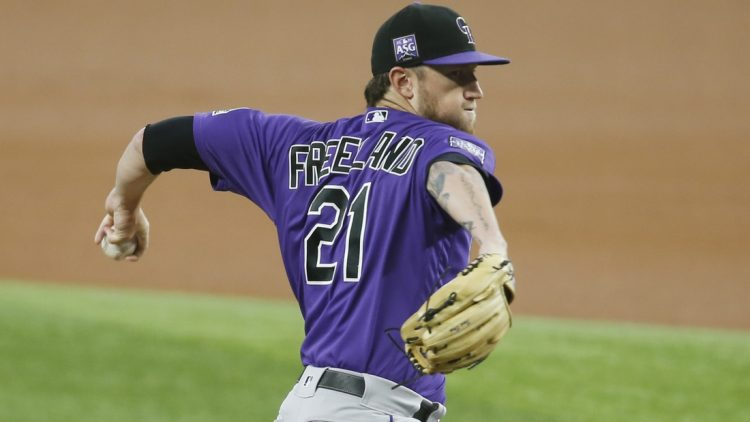 Sep 1, 2021; Arlington, Texas, USA; Colorado Rockies starting pitcher Kyle Freeland (21) throws a pitch in the first inning against the Texas Rangers at Globe Life Field. Mandatory Credit: Tim Heitman-USA TODAY Sports