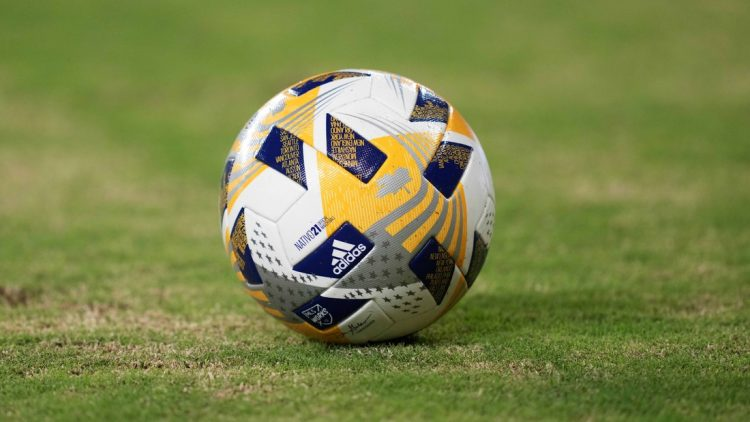 Sep 3, 2021; Los Angeles, California, USA; A detailed view of an Adidas official FIFA game ball in the second half of a match between the LAFC and Sporting KC at Banc of California Stadium. Mandatory Credit: Kirby Lee-USA TODAY Sports