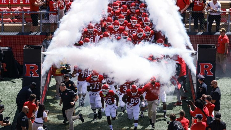 Sep 4, 2021; Piscataway, New Jersey, USA; Rutgers Scarlet Knights defensive back Max Melton (16) leads the team out before the game against the Temple Owls at SHI Stadium. Mandatory Credit: Vincent Carchietta-USA TODAY Sports
