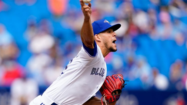 Sep 4, 2021; Toronto, Ontario, CAN; Toronto Blue Jays starting pitcher Jose Berrios (17) pitches to the Oakland Athletics during the first inning at Rogers Centre. Mandatory Credit: Kevin Sousa-USA TODAY Sports