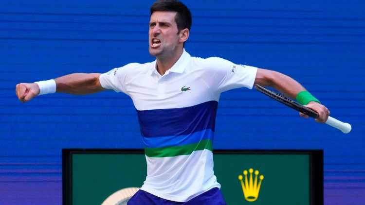 Sep 4, 2021; Flushing, NY, USA; Novak Djokovic of Serbia reacts to the crowd after winning the 3rd set against Kei Nishikori of Japan on day six of the 2021 U.S. Open tennis tournament at USTA Billie Jean King National Tennis Center. Mandatory Credit: Robert Deutsch-USA TODAY Sports