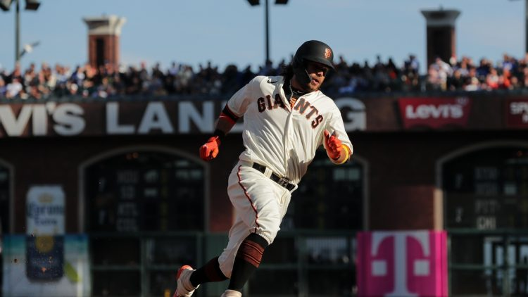 Sep 5, 2021; San Francisco, California, USA; San Francisco Giants shortstop Brandon Crawford (35) rounds third base on his way to score run during the third inning against the Los Angeles Dodgers at Oracle Park. Mandatory Credit: Sergio Estrada-USA TODAY Sports