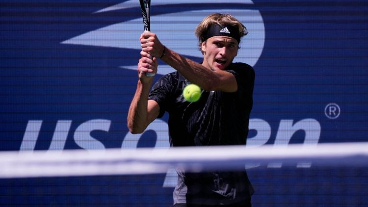 Sep 6, 2021; Flushing, NY, USA;  Alexander Zverev of Germany hits to Jannik Sinner of Italy on day eight of the 2021 U.S. Open tennis tournament at USTA Billie Jean King National Tennis Center. Mandatory Credit: Robert Deutsch-USA TODAY Sports