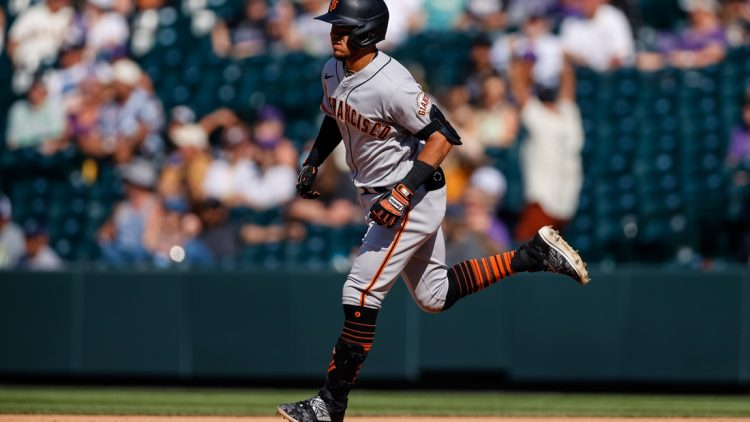 Sep 6, 2021; Denver, Colorado, USA; San Francisco Giants second baseman Thairo Estrada (39) rounds the bases on a two run home run in the fifth inning against the Colorado Rockies at Coors Field. Mandatory Credit: Isaiah J. Downing-USA TODAY Sports