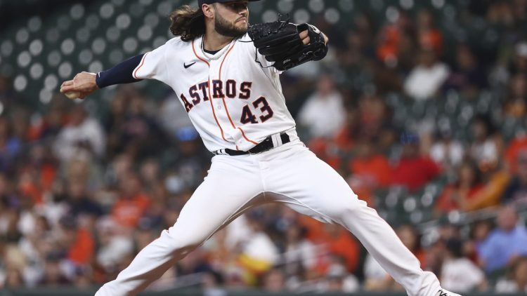 Sep 6, 2021; Houston, Texas, USA; Houston Astros starting pitcher Lance McCullers Jr. (43) delivers against the Seattle Mariners during the first inning at Minute Maid Park. Mandatory Credit: Troy Taormina-USA TODAY Sports