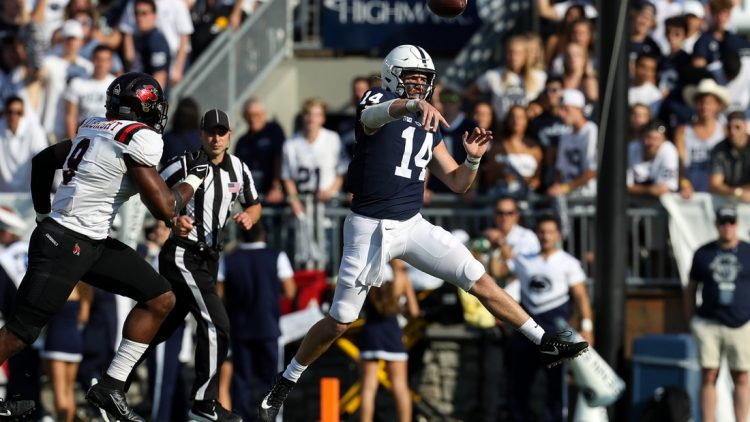 Sep 11, 2021; University Park, Pennsylvania, USA; Penn State Nittany Lions quarterback Sean Clifford (14) throws a pass during the second quarter against the Ball State Cardinals at Beaver Stadium. Mandatory Credit: Matthew OHaren-USA TODAY Sports