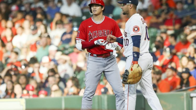 Sep 11, 2021; Houston, Texas, USA; Los Angeles Angels  designated hitter Shohei Ohtani (17) hits a single against the Houston Astros in the first inning at Minute Maid Park. Mandatory Credit: Thomas Shea-USA TODAY Sports