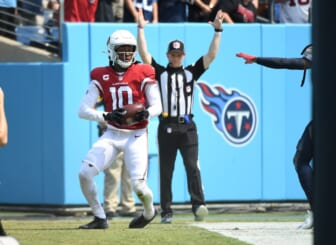 Sep 12, 2021; Nashville, Tennessee, USA; Arizona Cardinals wide receiver DeAndre Hopkins (10) after a touchdown reception during the first half against the Tennessee Titans at Nissan Stadium. Mandatory Credit: Christopher Hanewinckel-USA TODAY Sports