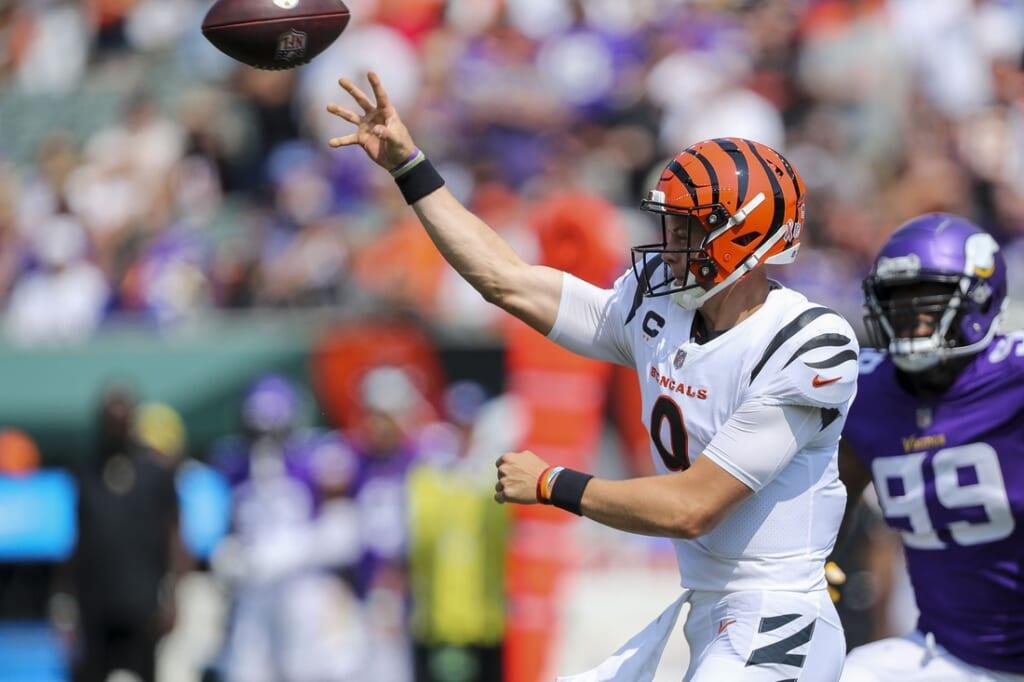 Sep 12, 2021; Cincinnati, Ohio, USA; Cincinnati Bengals quarterback Joe Burrow (9) throws a pass against the Minnesota Vikings in the first half at Paul Brown Stadium. Mandatory Credit: Katie Stratman-USA TODAY Sports