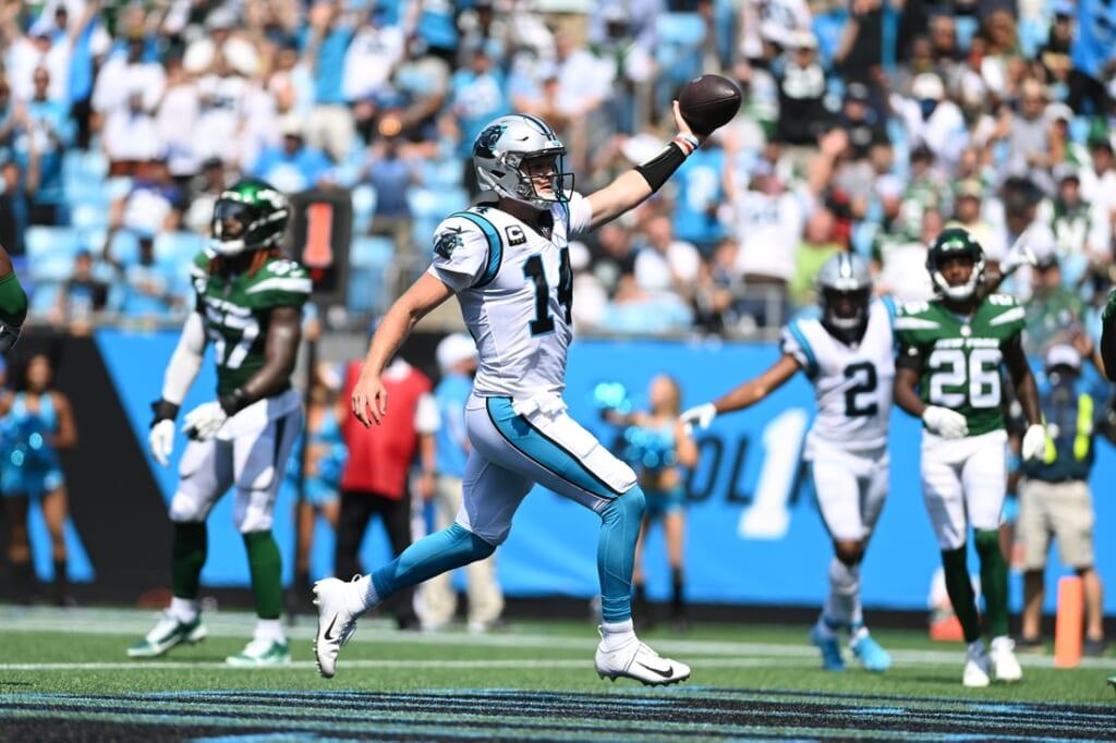 Sep 12, 2021; Charlotte, North Carolina, USA;  Carolina Panthers quarterback Sam Darnold (14) scores a touchdown in the second quarter at Bank of America Stadium. Mandatory Credit: Bob Donnan-USA TODAY Sports