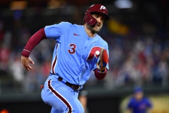 Sep 16, 2021; Philadelphia, Pennsylvania, USA; Philadelphia Phillies right fielder Bryce Harper (3) advances past third base to score against the Chicago Cubs in the sixth inning at Citizens Bank Park. Mandatory Credit: Kyle Ross-USA TODAY Sports