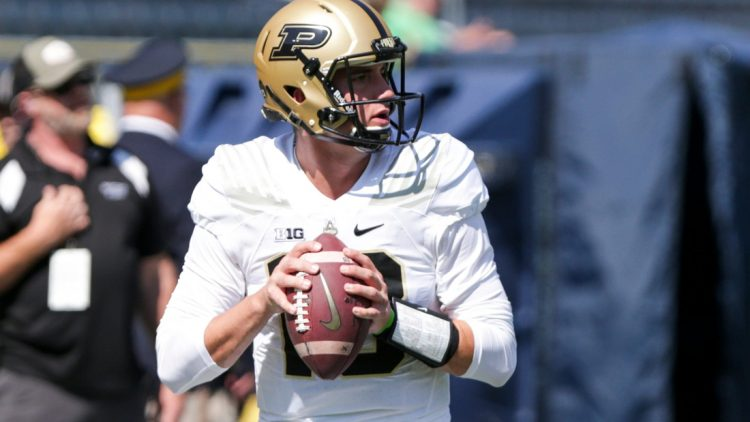 Purdue quarterback Jack Plummer (13) warms up prior to the start of an NCAA football game between the Notre Dame Fighting Irish and the Purdue Boilermakers, Saturday, Sept. 18, 2021 at Notre Dame Stadium in South Bend.  Purdue Vs Notre Dame Warmups