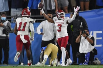 Sep 18, 2021; Pasadena, California, USA; Fresno State Bulldogs wide receiver Erik Brooks (3) celebrate after making a catch for a touchdown against the UCLA Bruins in the fourth quarter Rose Bowl. Mandatory Credit: Richard Mackson-USA TODAY Sports