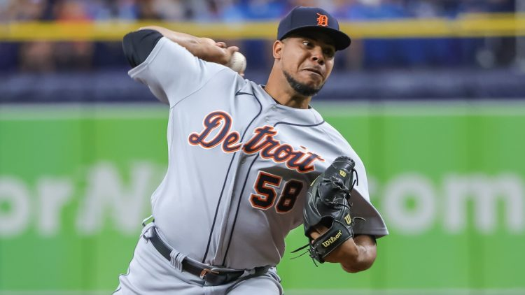 Sep 19, 2021; St. Petersburg, Florida, USA; Detroit Tigers relief pitcher Wily Peralta (58) throws a pitch during the first inning against the Tampa Bay Rays at Tropicana Field. Mandatory Credit: Mike Watters-USA TODAY Sports