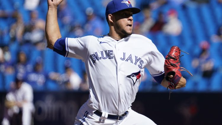 Sep 19, 2021; Toronto, Ontario, CAN; Toronto Blue Jays starting pitcher Jose Berrios (17) pitches to the Minnesota Twins during the second inning at Rogers Centre. Mandatory Credit: John E. Sokolowski-USA TODAY Sports