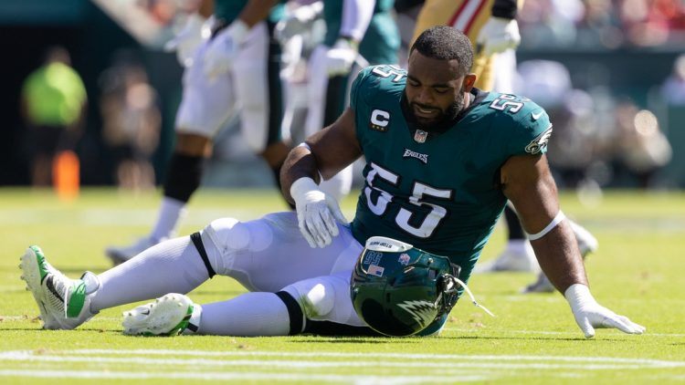 Sep 19, 2021; Philadelphia, Pennsylvania, USA; Philadelphia Eagles defensive end Brandon Graham (55) takes off his helmet after being injured during the second quarter against the San Francisco 49ers at Lincoln Financial Field. Mandatory Credit: Bill Streicher-USA TODAY Sports
