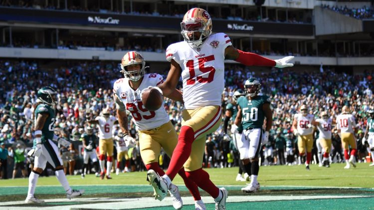 Sep 19, 2021; Philadelphia, Pennsylvania, USA; San Francisco 49ers wide receiver Jauan Jennings (15) celebrates his touchdown catch against the Philadelphia Eagles during the second quarter at Lincoln Financial Field. Mandatory Credit: Eric Hartline-USA TODAY Sports