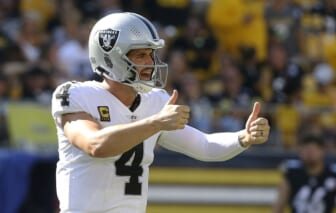 Sep 19, 2021; Pittsburgh, Pennsylvania, USA;  Las Vegas Raiders quarterback Derek Carr (4) gestures on the field against the Pittsburgh Steelers during the fourth quarter at Heinz Field. Las Vegas won 26-17. Mandatory Credit: Charles LeClaire-USA TODAY Sports