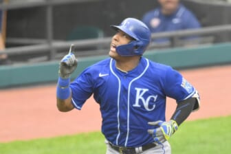 Sep 20, 2021; Cleveland, Ohio, USA; Kansas City Royals catcher Salvador Perez (13) celebrates his two-run home run in the fifth inning against the Cleveland Indians at Progressive Field. Mandatory Credit: David Richard-USA TODAY Sports