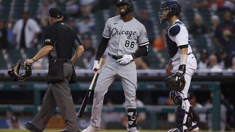 Sep 20, 2021; Detroit, Michigan, USA; Chicago White Sox center fielder Luis Robert (88) reacts after being hit by a pitch from Detroit Tigers starting pitcher Matt Manning (not pictured) during the third inning at Comerica Park. Mandatory Credit: Raj Mehta-USA TODAY Sports