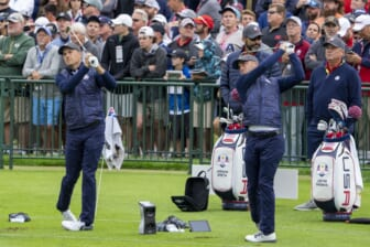 September 21, 2021; Kolher, Wisconsin, USA; U.S. Team players Jordan Spieth (left) and Justin Thomas (right) hit on the driving range during a practice round for the 43rd Ryder Cup golf competition at Whistling Straits. Mandatory Credit: Kyle Terada-USA TODAY Sports