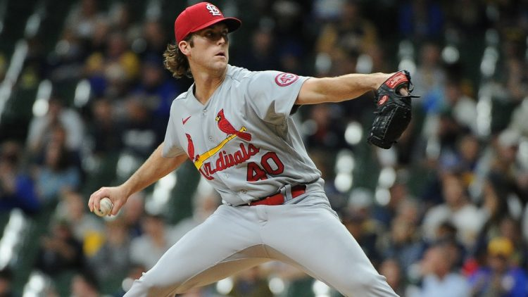 Sep 21, 2021; Milwaukee, Wisconsin, USA;  St. Louis Cardinals starting pitcher Jake Woodford (40) delivers a pitch against the Milwaukee Brewers in the first inning at American Family Field. Mandatory Credit: Michael McLoone-USA TODAY Sports